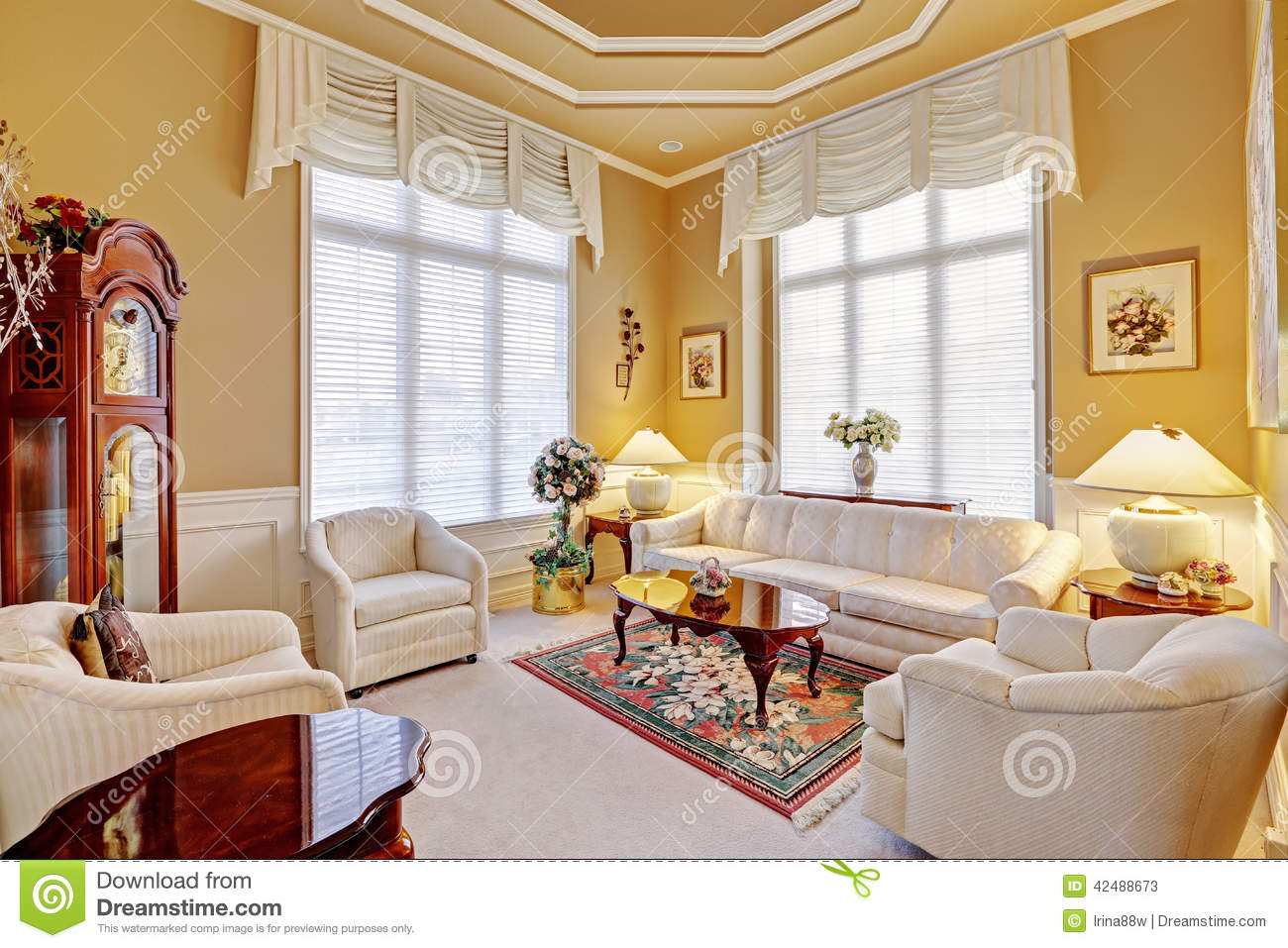 Luxury Room Interior With Antique Furniture Stock Image