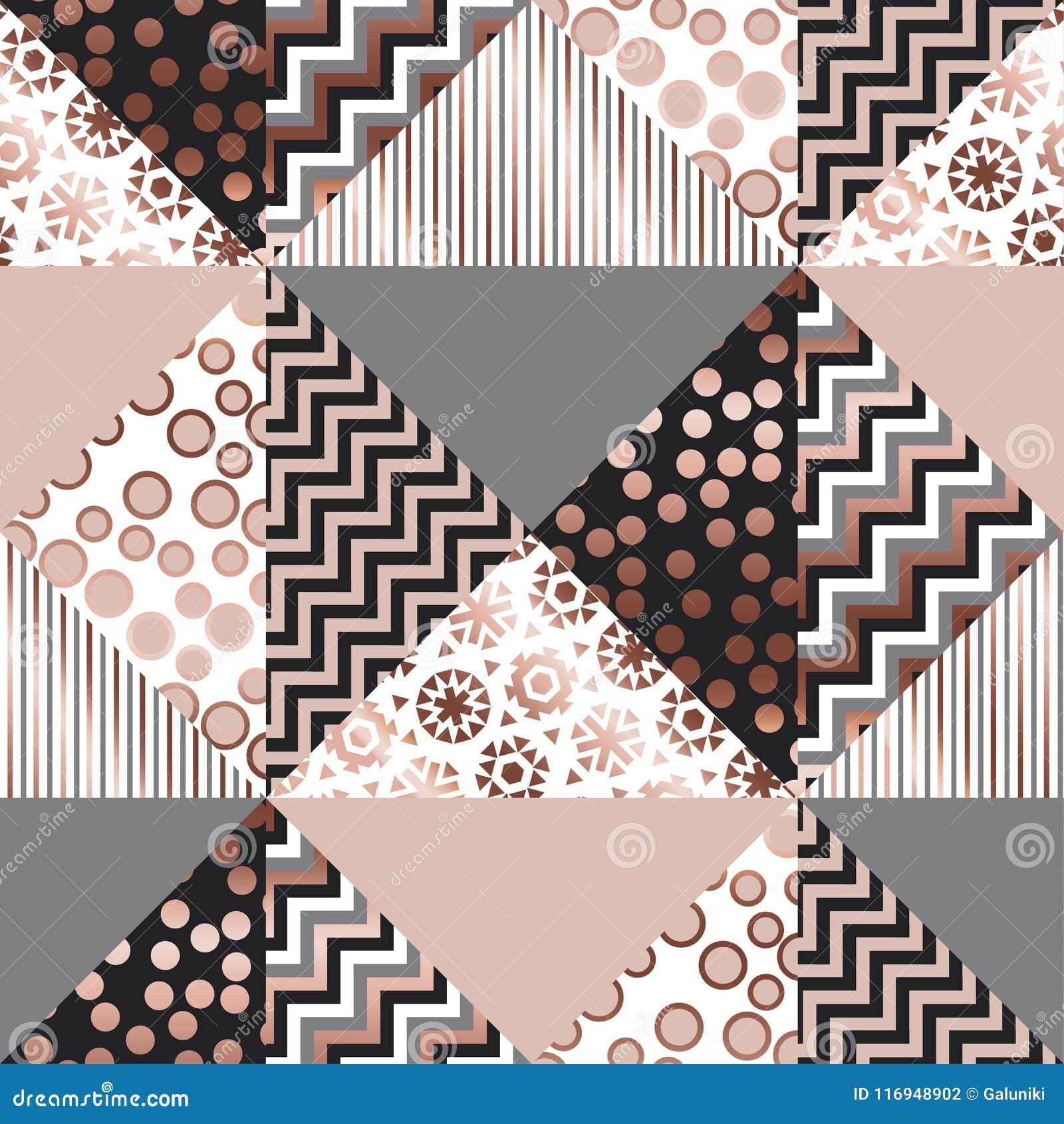 Luxury Rose Gold Xmas Geometric Seamless Pattern Stock Vector Illustration Of Luxury Black 116948902