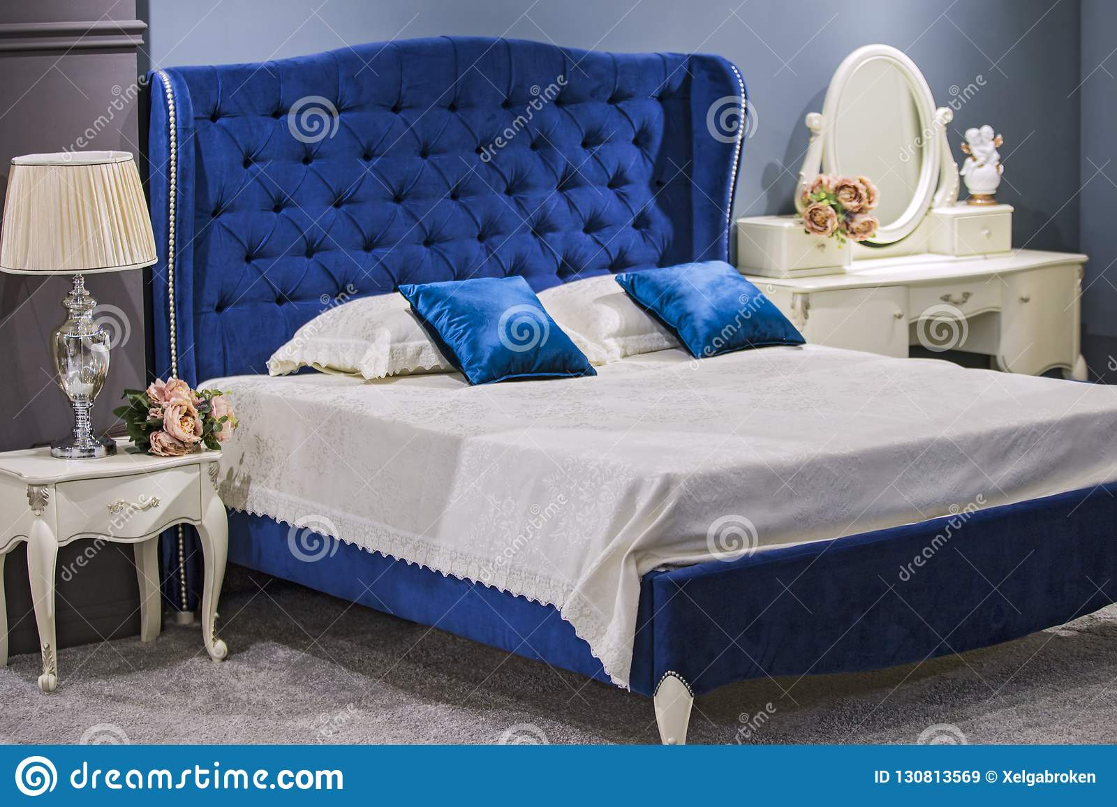 Luxury Royal Bedroom In Antique Style With Blue Velvet Bed And White Nightstand Stock Image Image Of Architecture Design 130813569