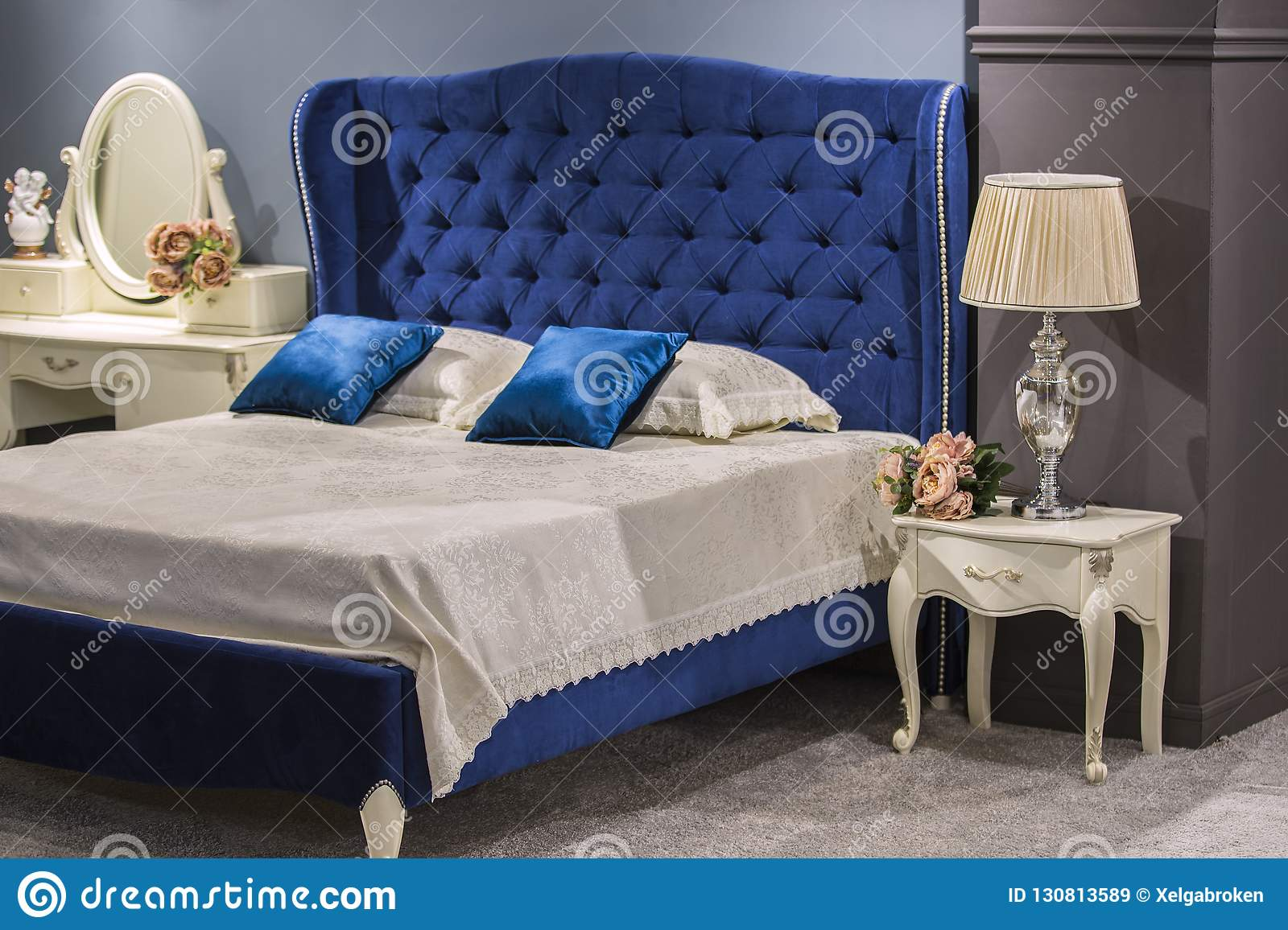 Luxury Royal Bedroom In Antique Style With Blue Velvet Bed And White Nightstand Stock Image Image Of Elegant Home 130813589