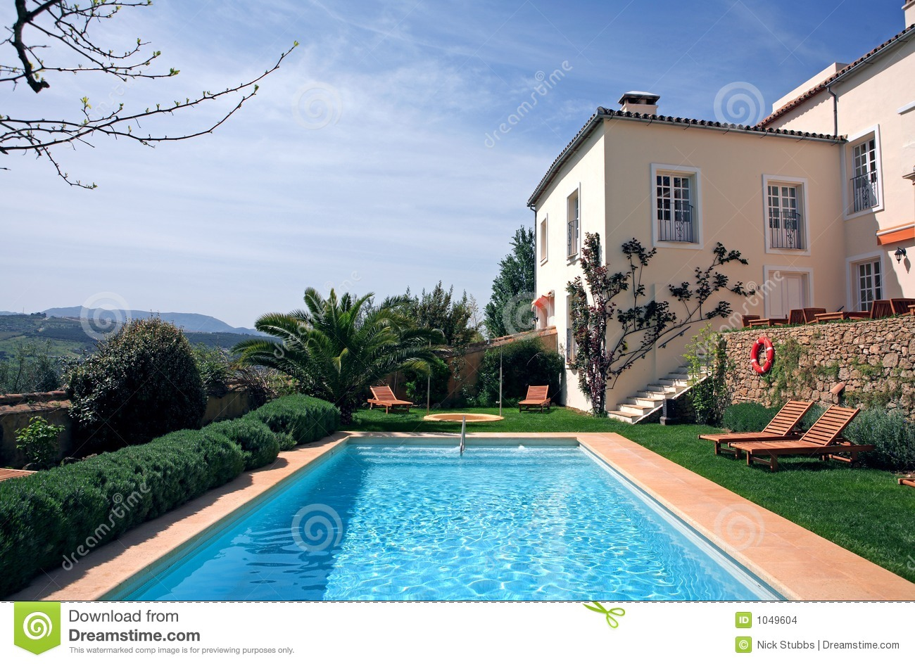 Luxury Rustic Hotel And Swimming Pool Stock Photo Image 1049604