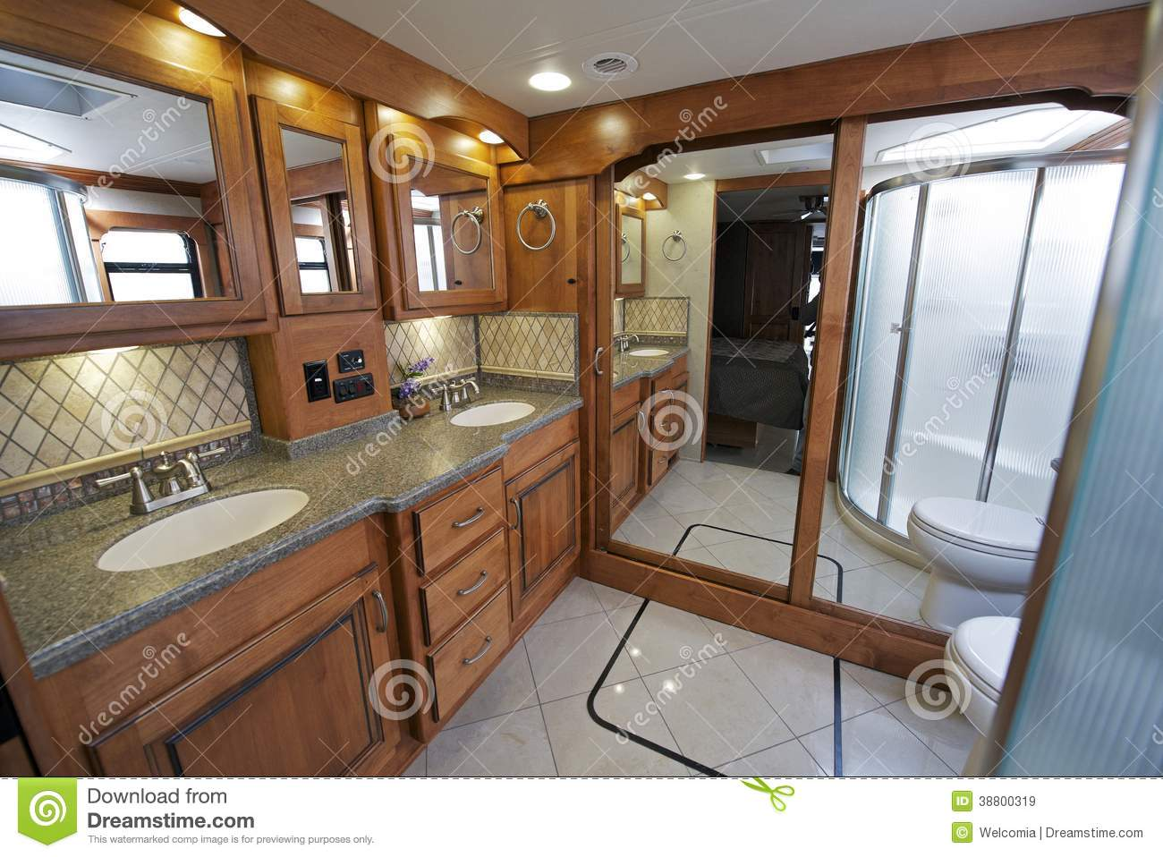 Luxury RV Bathroom Stock Image Image Of Motorhome Bath