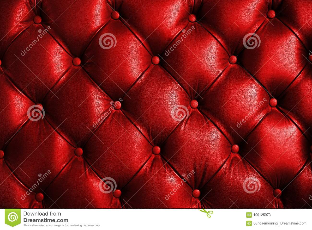 Saturated Glossy Red Leather Texture Of Sofa Chair Stock