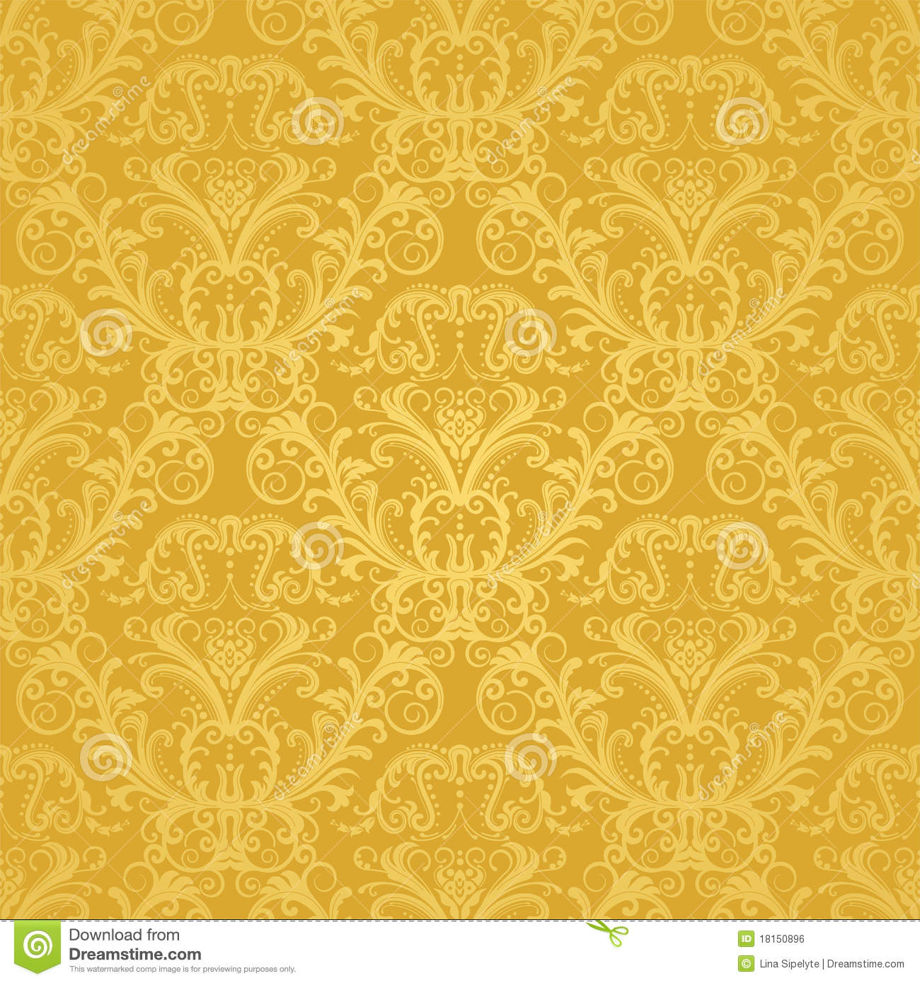 luxury seamless golden floral wallpaper royalty free stock