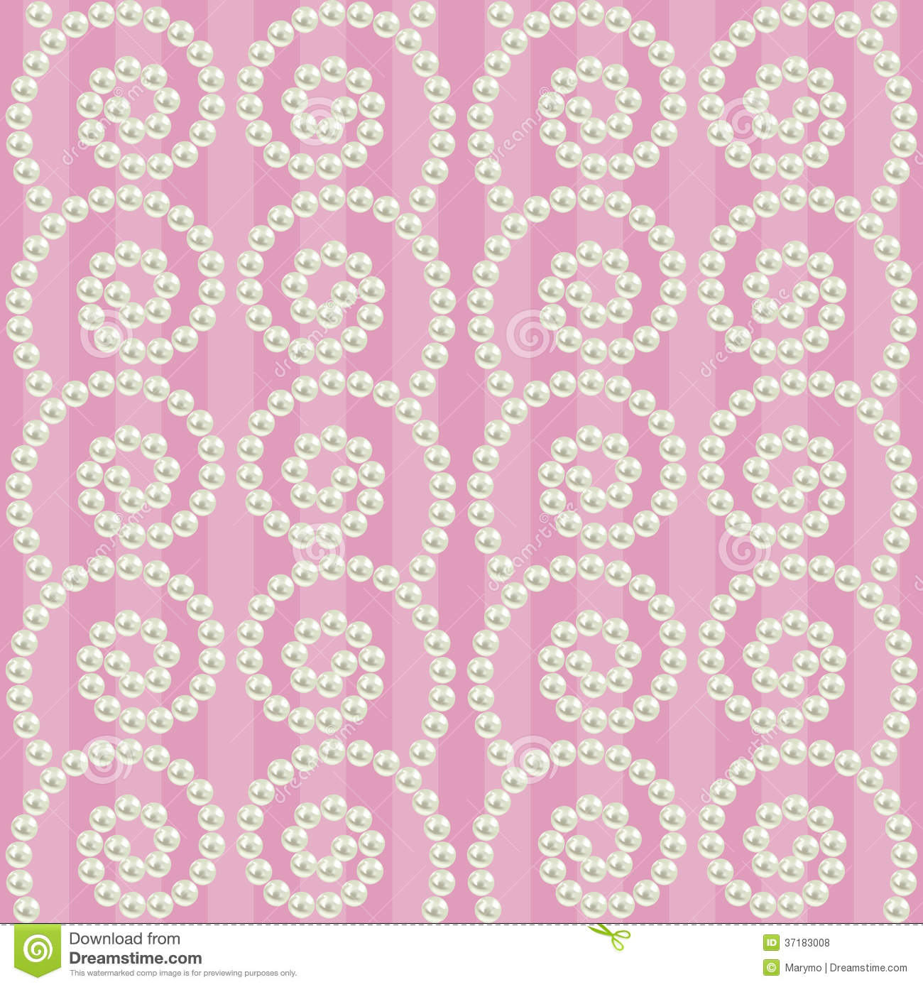 Luxury Seamless Pattern With Pearls Wavy Borders Royalty Free Stock Photos