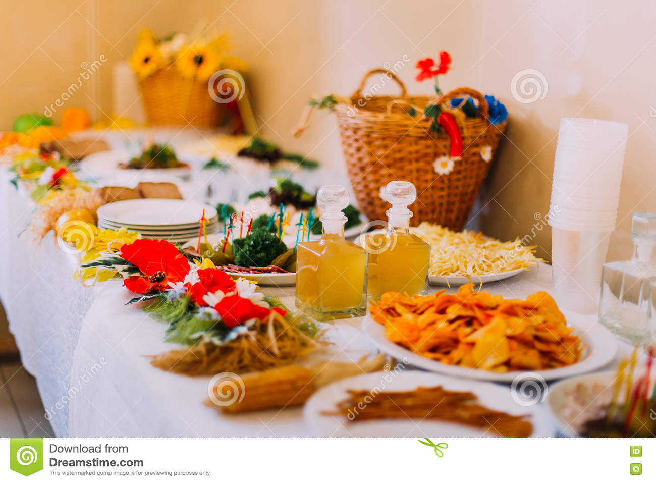 Luxury Served Catering Table Of Different Salty Snacks With Fancy ...