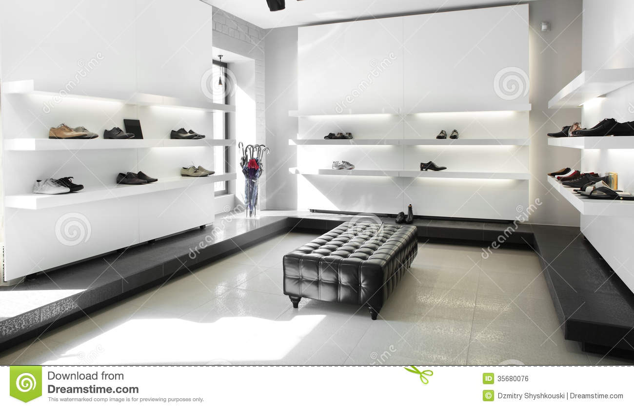 Luxury Shoe Store With Bright Interior Royalty Free Stock