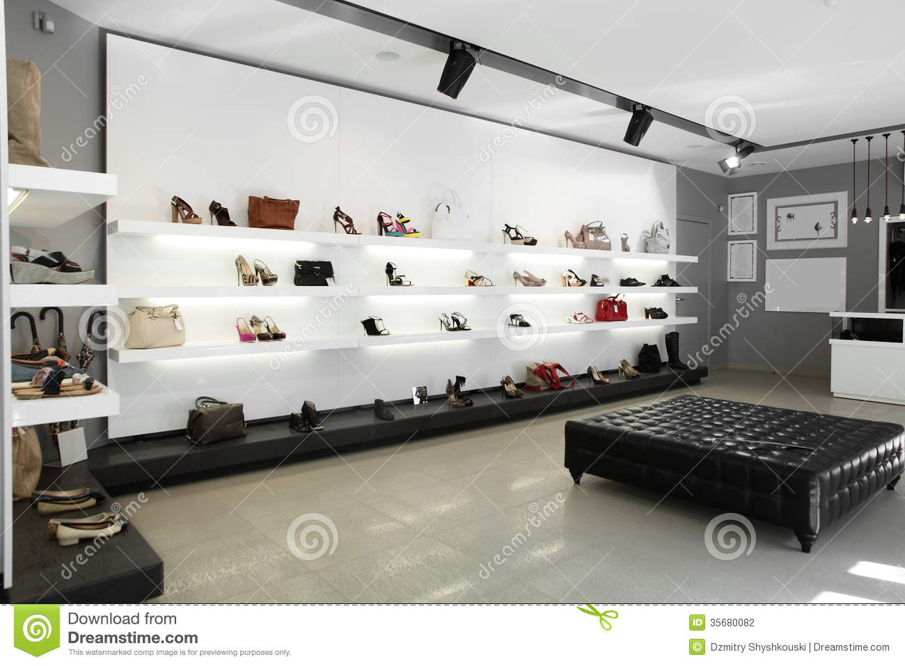 Luxury Shoe Store With Bright Interior Stock Photo Image 35680082