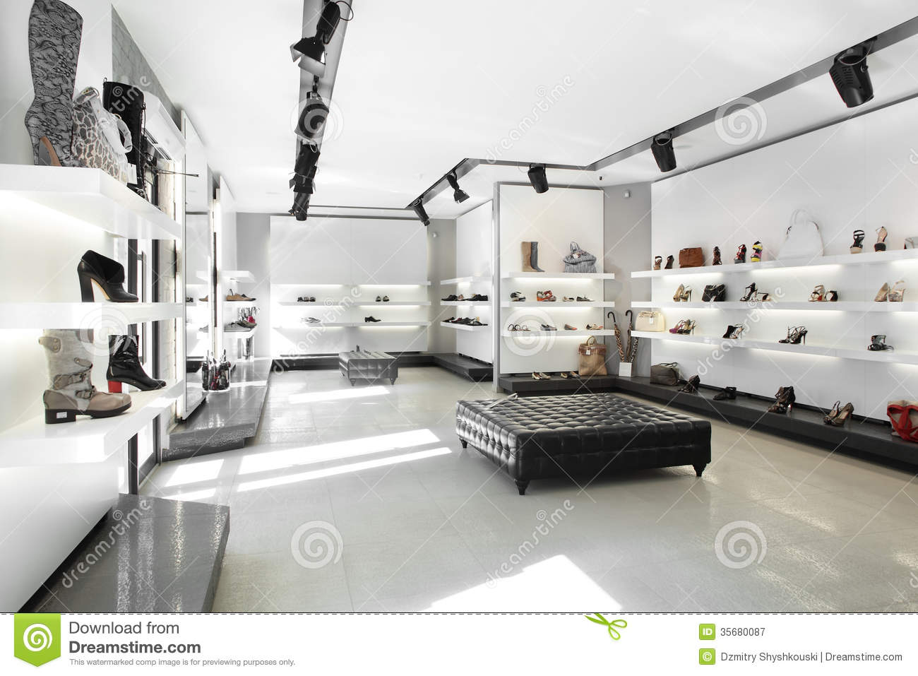 Luxury Shoe Store With Bright Interior Stock Image Image 35680087