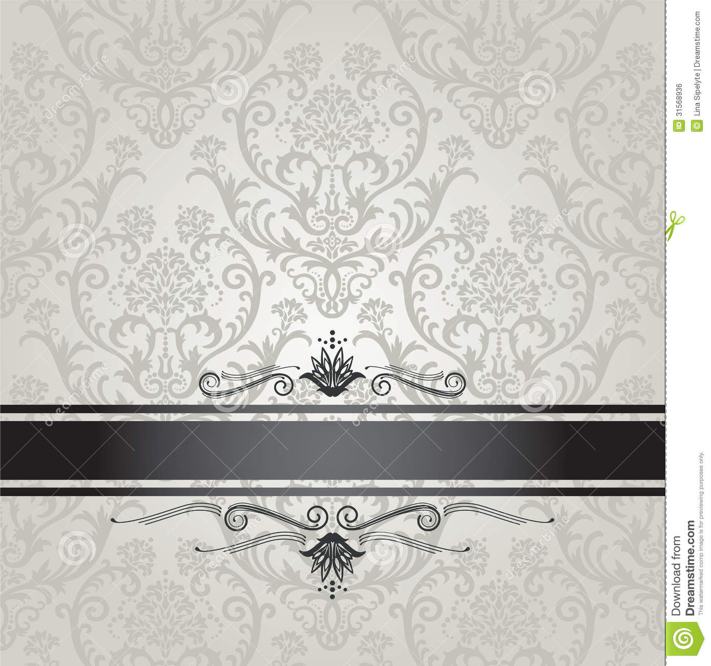 Luxury Silver Floral Wallpaper Pattern With Black Stock Vector