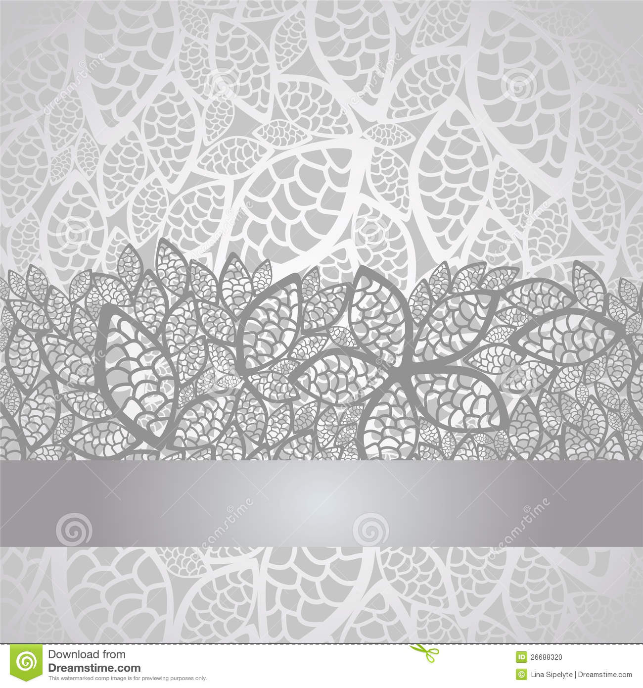 Luxury Silver Leaves Lace Border And Background Stock ... - photo#49