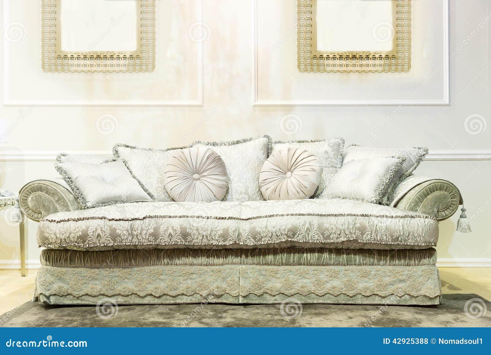 luxury sofa in beige fashion interior stock photo image. Black Bedroom Furniture Sets. Home Design Ideas