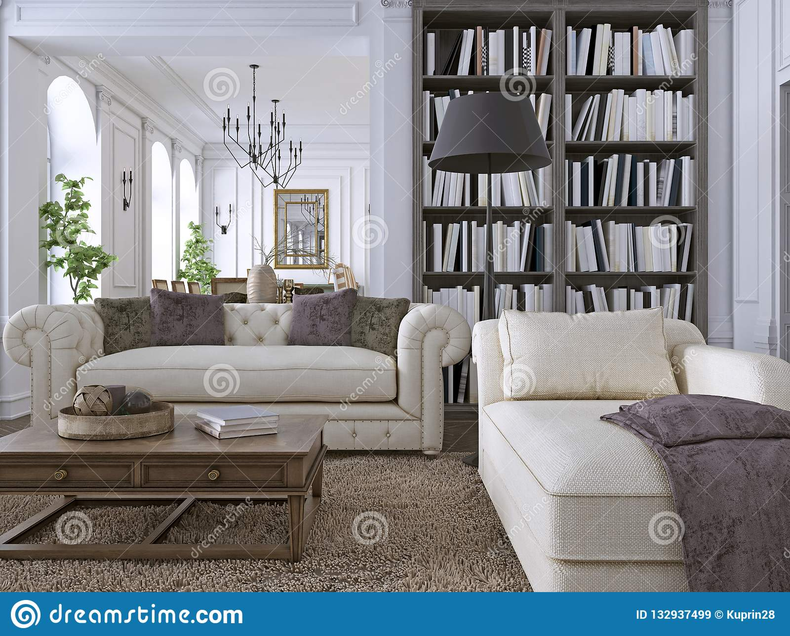 Luxury Sofa in classic living room with library