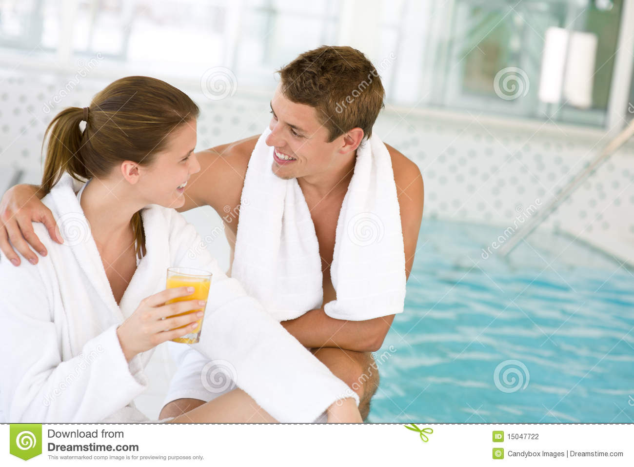Luxury spa happy couple relax at swimming pool stock for Best spa for couples