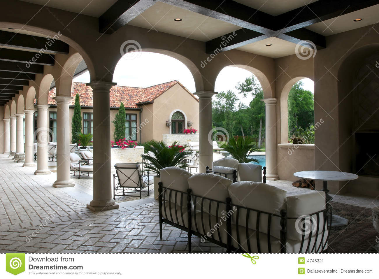 Luxury spanish style home and pool stock image image of for Luxury spanish style homes