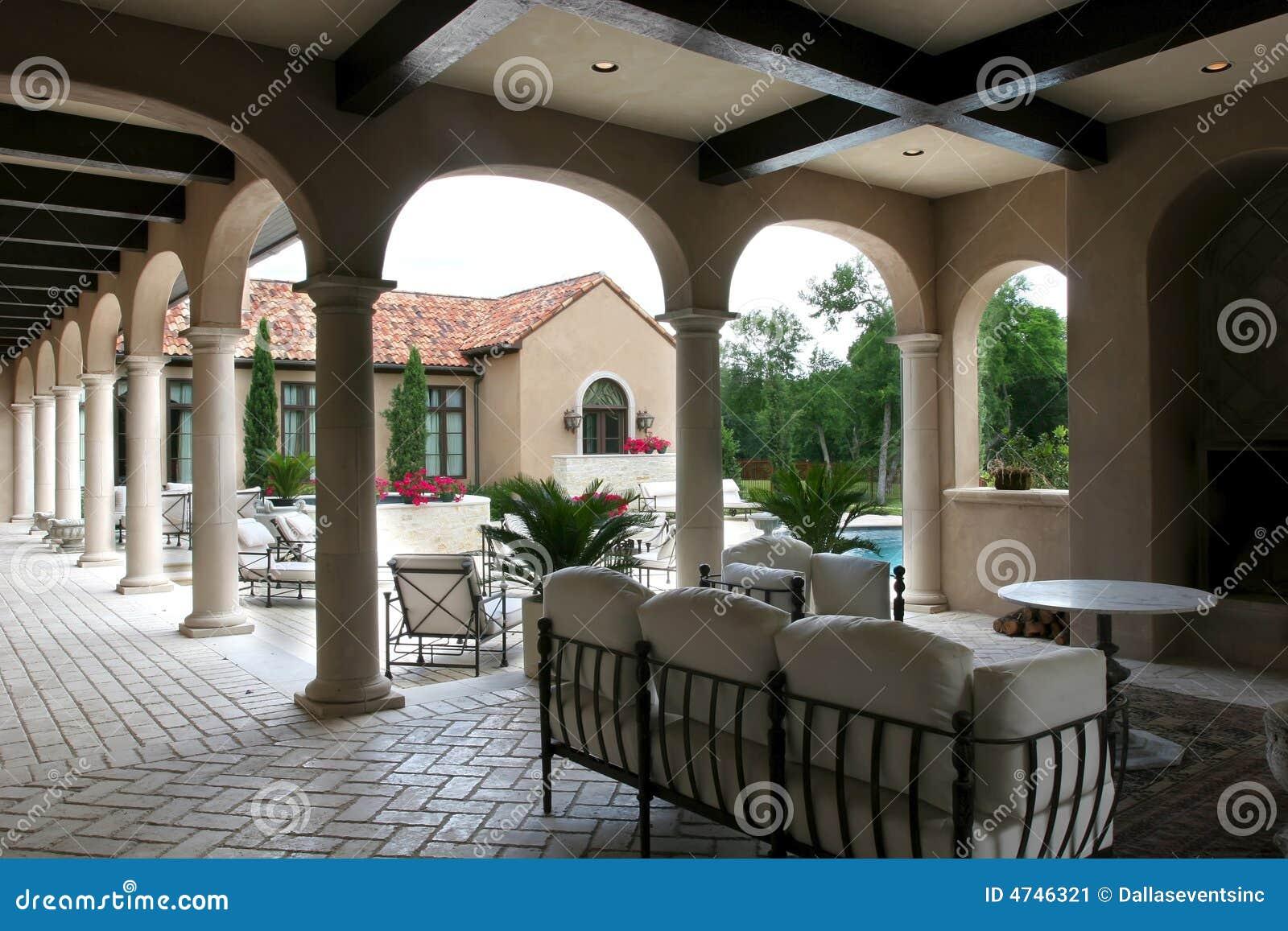 Luxury Spanish Style Home And Pool Stock Image Image