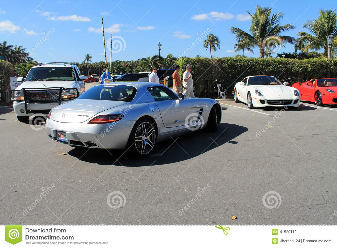 Luxury sports car in parking lot editorial image image for Mercedes benz car lot