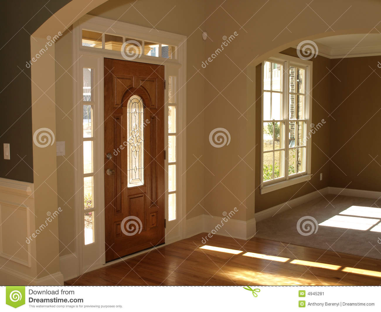 Luxury Stained Glass Door Foyer Stock Image Image 4945281