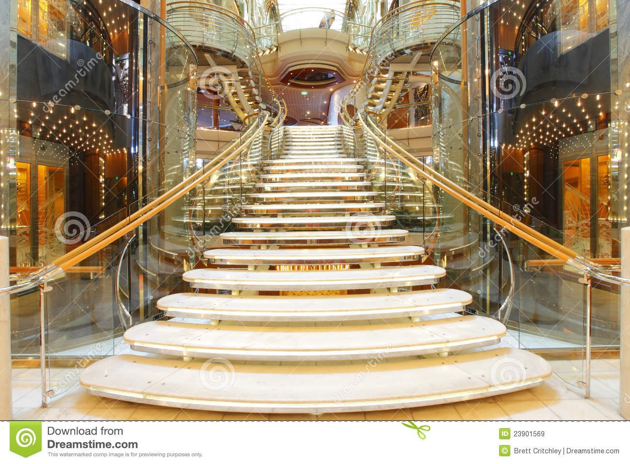 Luxury staircase stock image image of glittery cruise for Luxury staircase