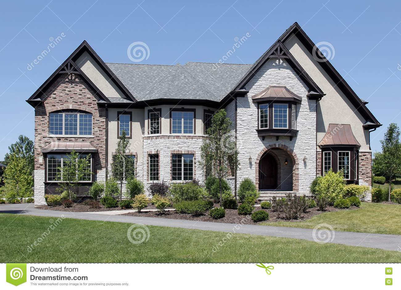 Luxury Stone And Brick Home Royalty Free Stock Photos