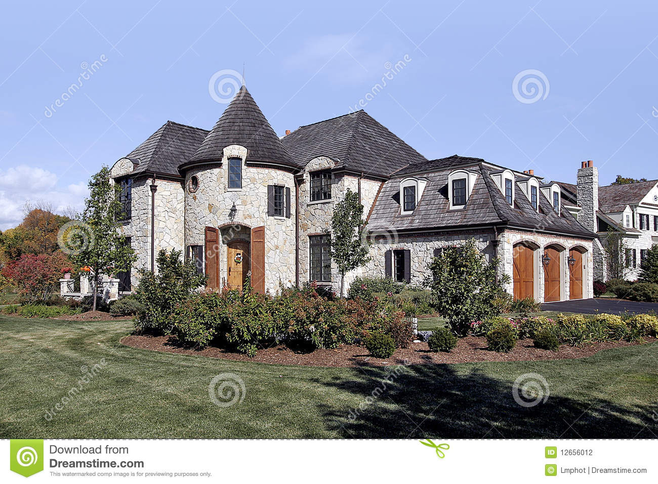 Luxury stone and cedar shake home stock photo image for Stone and cedar homes