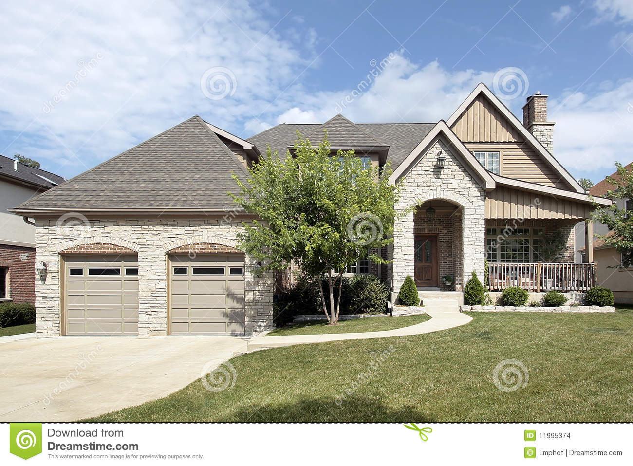 Luxury Stone Home With Front Porch Stock Images Image