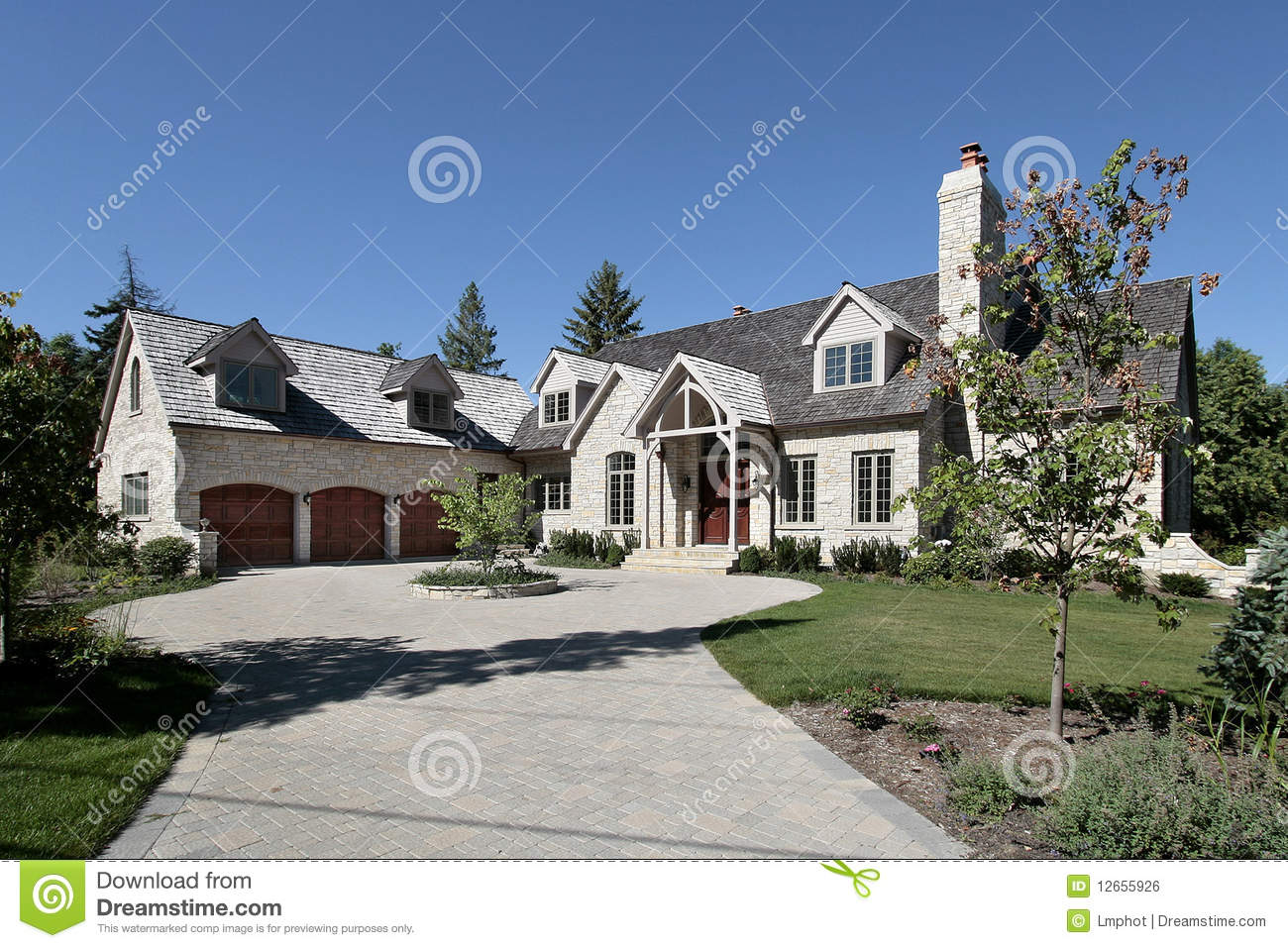Luxury Stone Home In Suburbs Royalty Free Stock Image