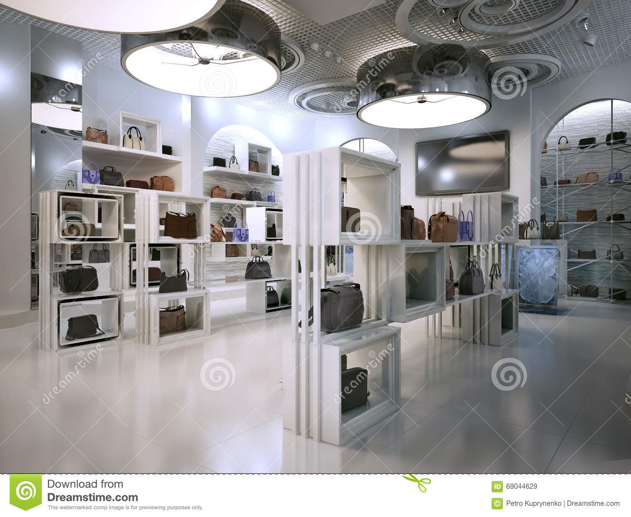 Luxury Store Interior Design Art Deco Style With Hints Of Contem Royalty Free Stock Images