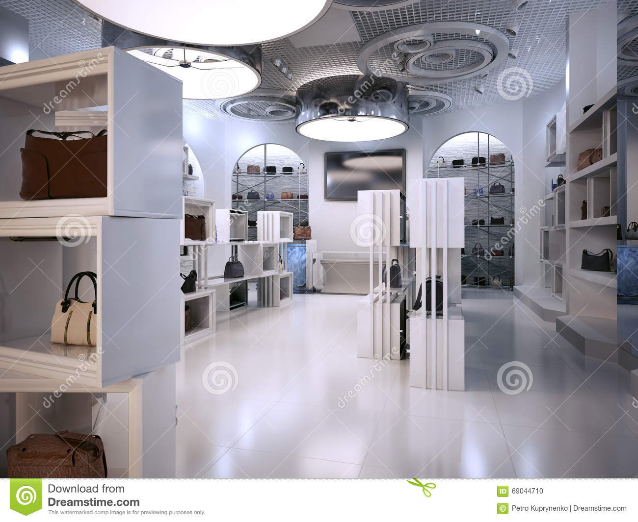 Luxury Store Interior Design Art Deco Style With Hints Of Contem Stock Photo