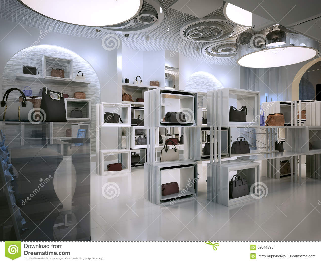 luxury store interior design art deco style with hints of contem