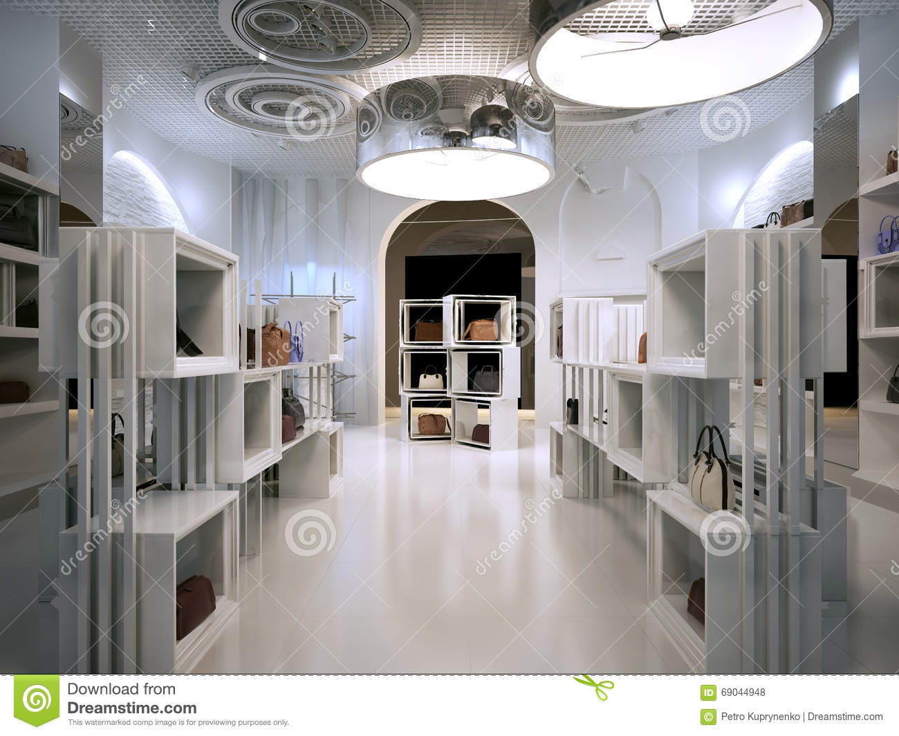 Luxury Store Interior Design Art Deco Style With Hints Of Contem Royalty Free Stock Photos