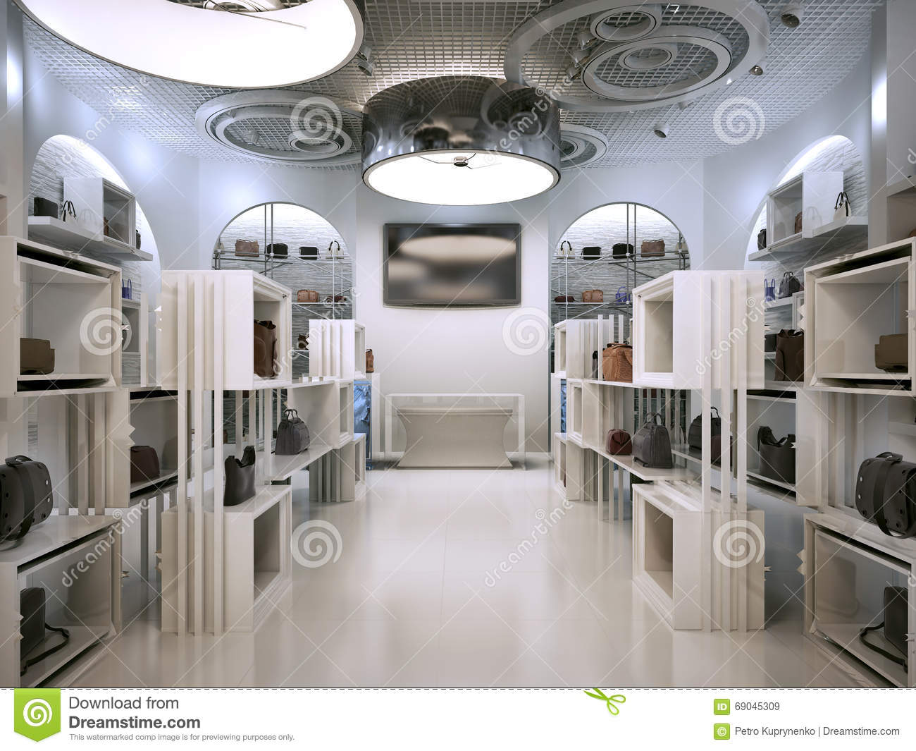 Luxury Store Interior Design Art Deco Style With Hints Of Contem Stock Illustration