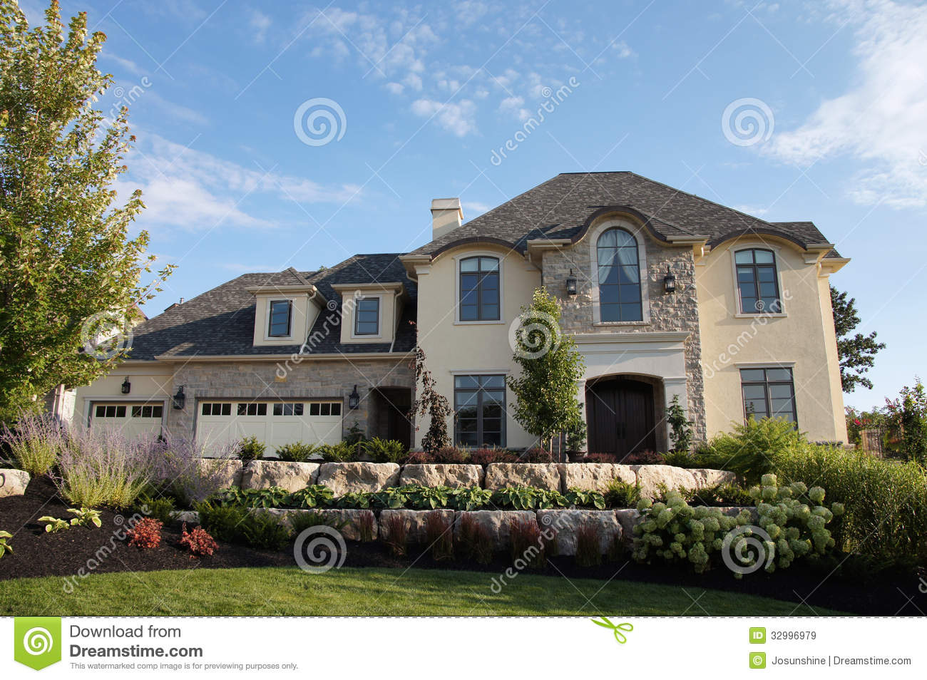 Royalty Free Stock Images Luxury Stucco House Stone Beautiful Pretty Landscaping Gardens Image32996979 on classic american homes