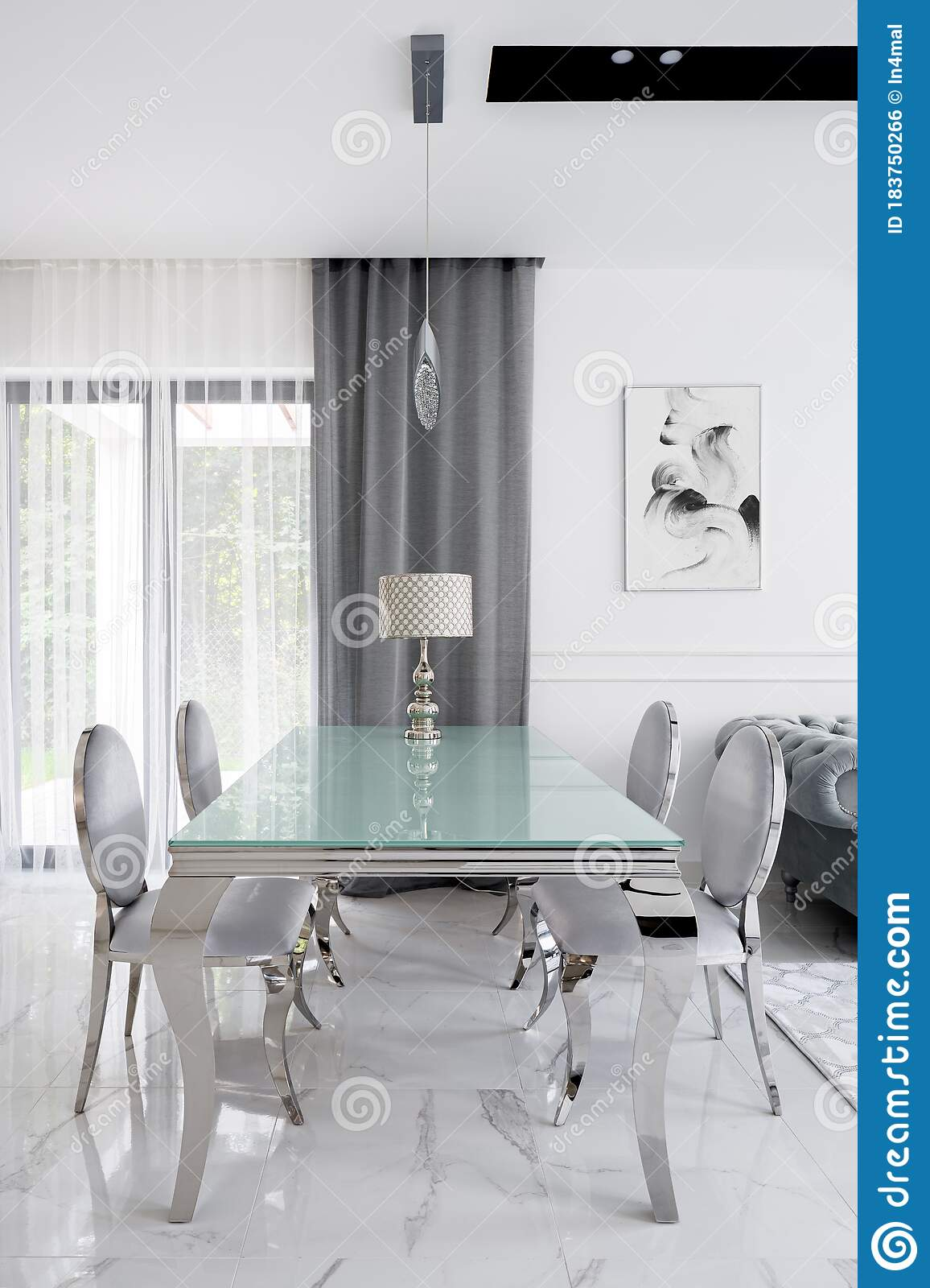 Luxury Style Dining Table With Chairs Stock Photo Image Of Glass Curtains 183750266