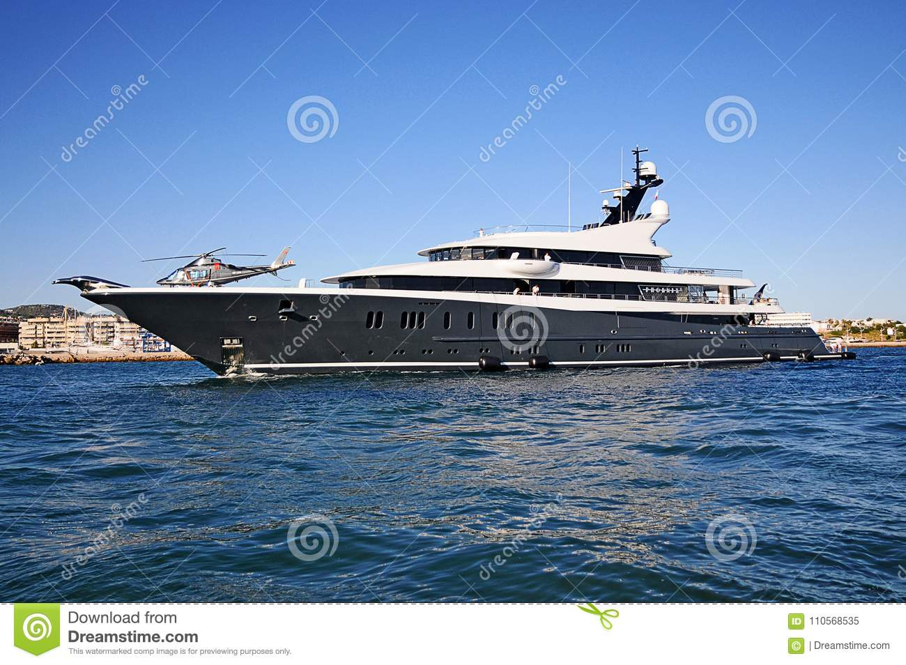 Luxury Superyacht With Helicopter In Ibiza Spain Editorial Image