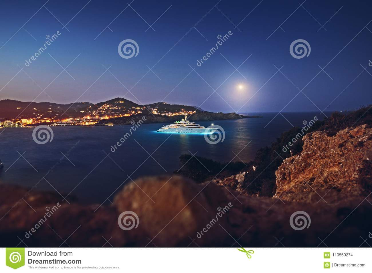 Luxury Superyacht M Y Eclipse In Ibiza Spain Editorial Stock Image