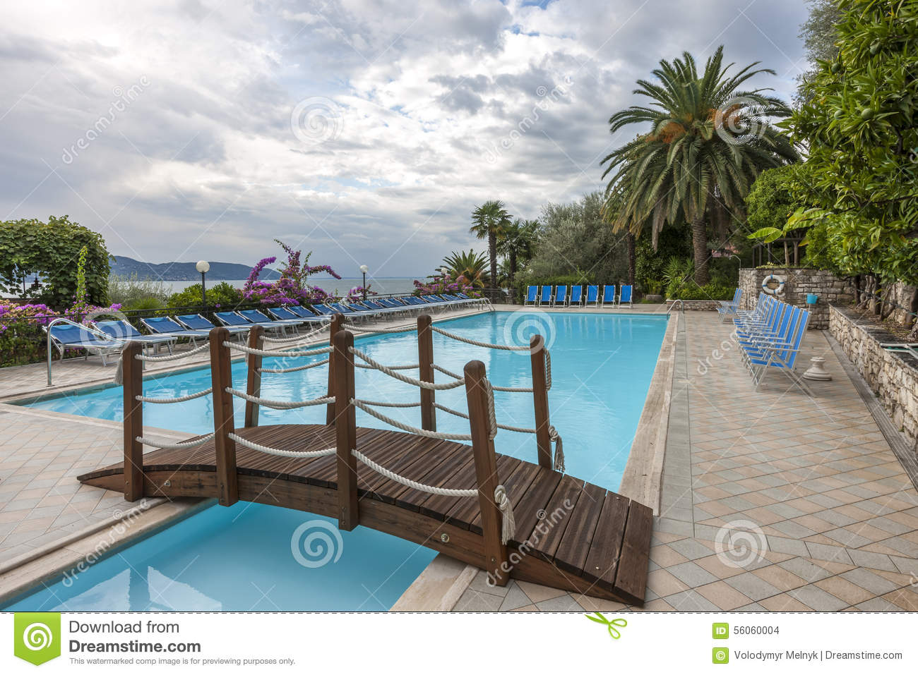 Luxury Swimming Pool With Beautiful Views Of Lake Stock Photo Image 56060004