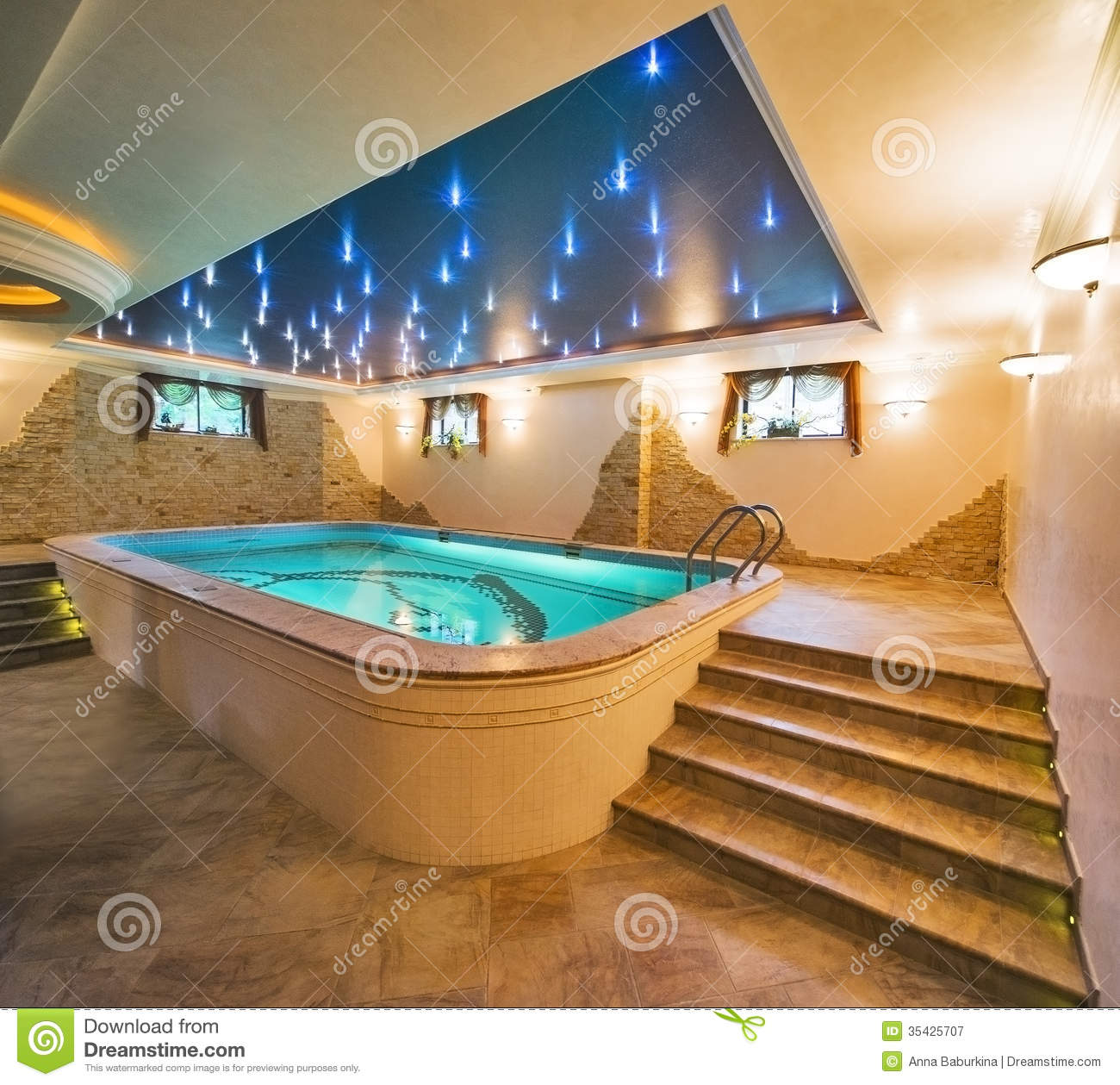 Luxury Home Indoor Swimming Pools: Luxury Swimming Pool Stock Image. Image Of Lifestyle