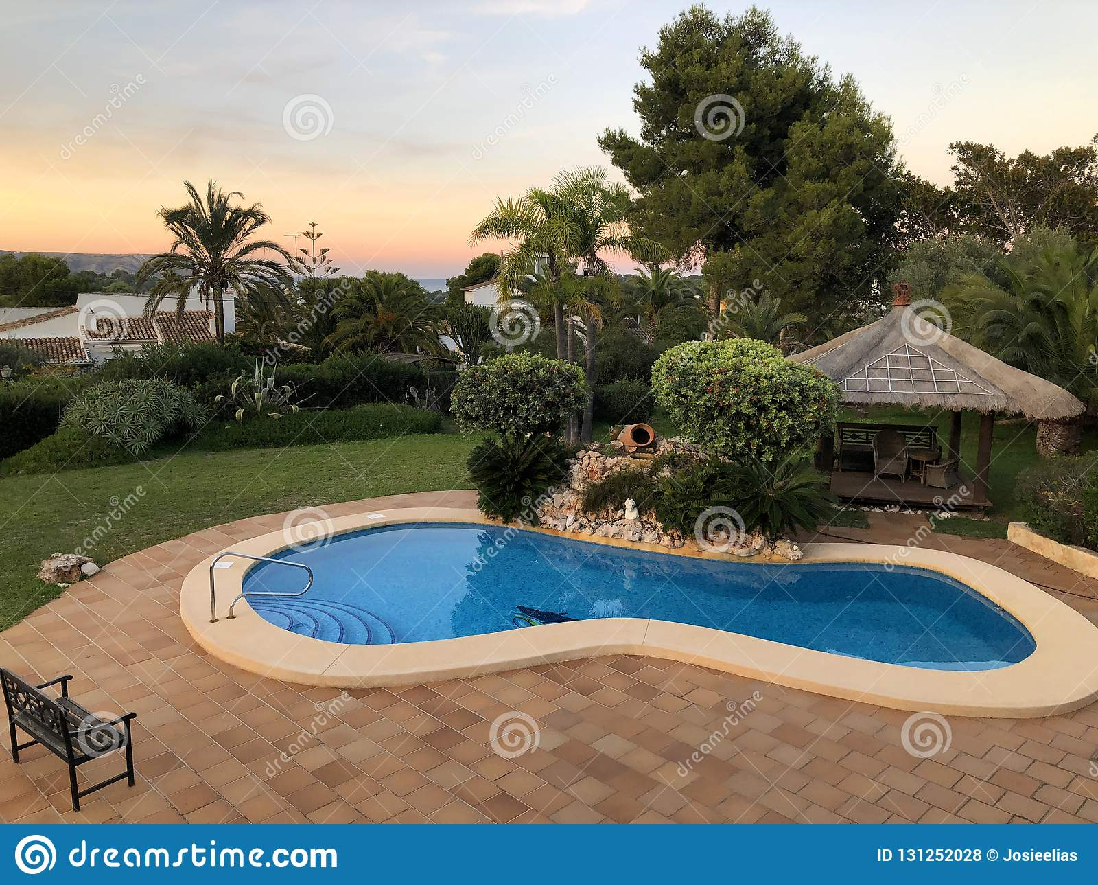 Mediterranean garden with a private swimming pool