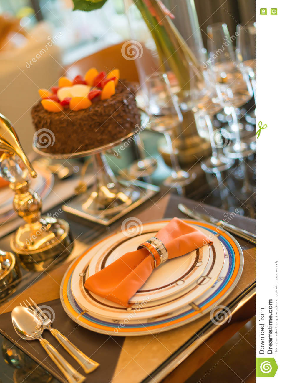 Luxury Table Setting With A Birthday Cake