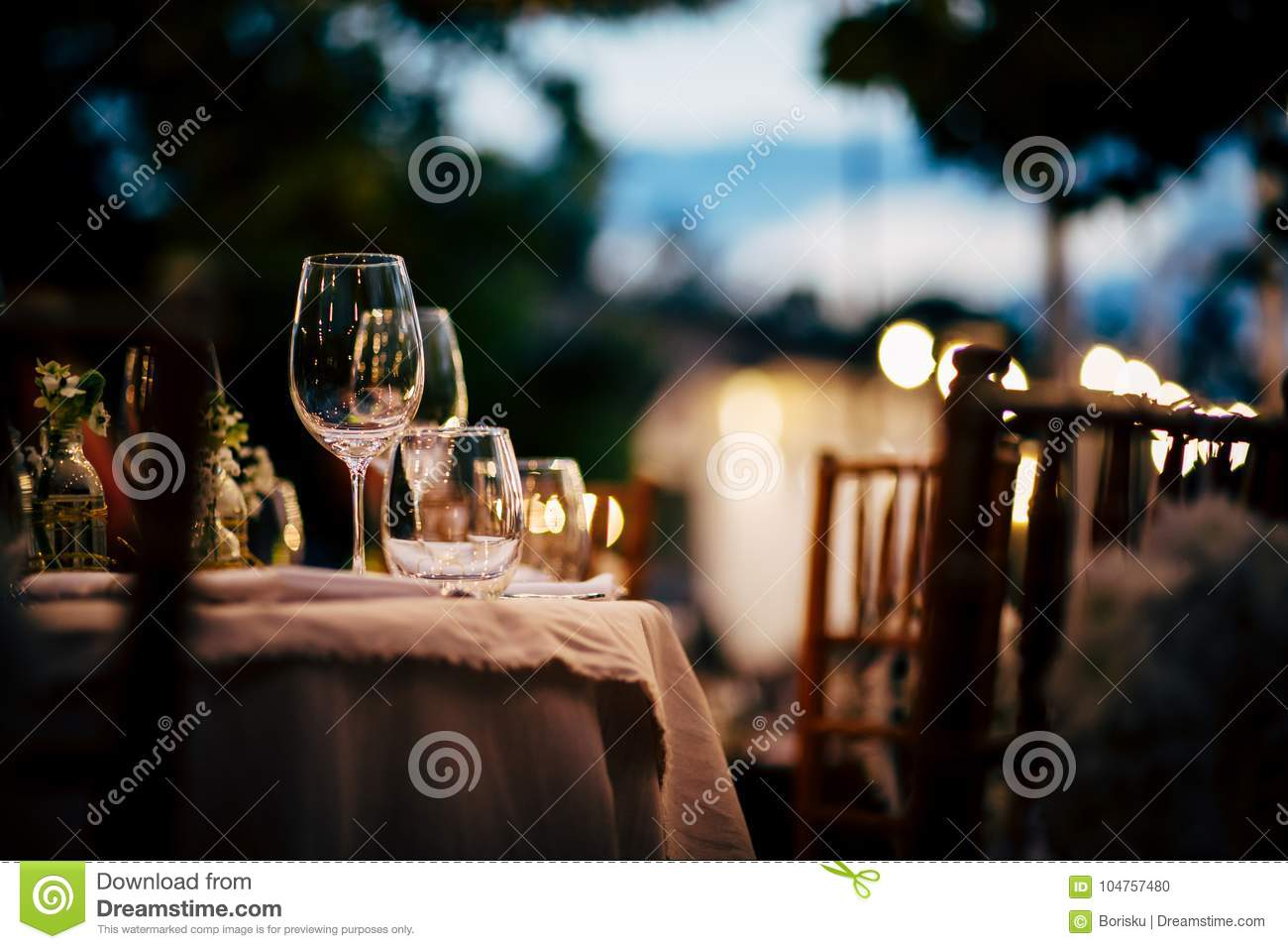 Luxury Table setting for party, Christmas, holidays and weddings