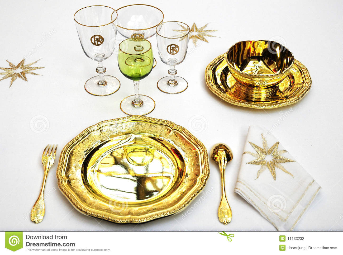 Luxury Tableware For Royal Palace Stock Photography