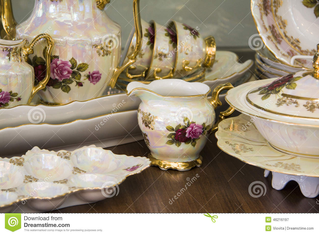 Luxury tea set with hand drawn flowers