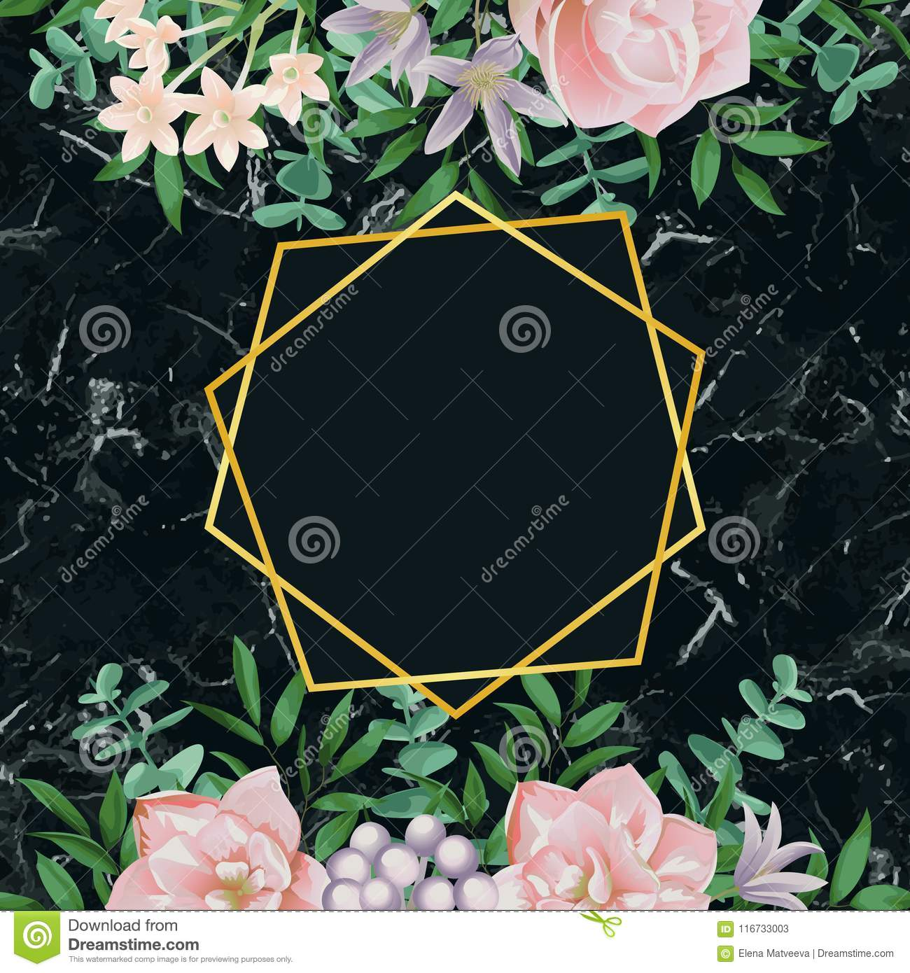 Luxury Template With Pink Flowers On Black Marble Stock Vector -  Illustration of leaf, elegant: 116733003