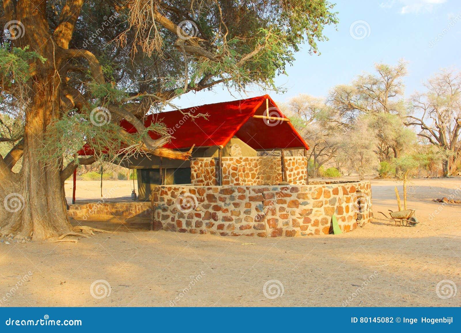 Luxury safari tent c& private bathroom DamaralandNamibia & Luxury Safari Tent Camp Private Bathroom DamaralandNamibia Stock ...