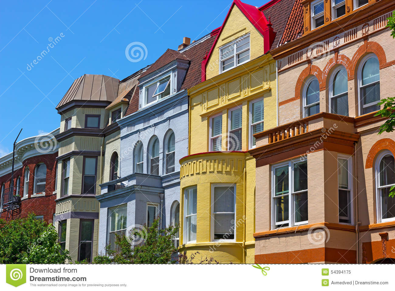 Queen Anne Victorian House Plans Luxury Townhouses Of Washington Dc Usa Stock Photo