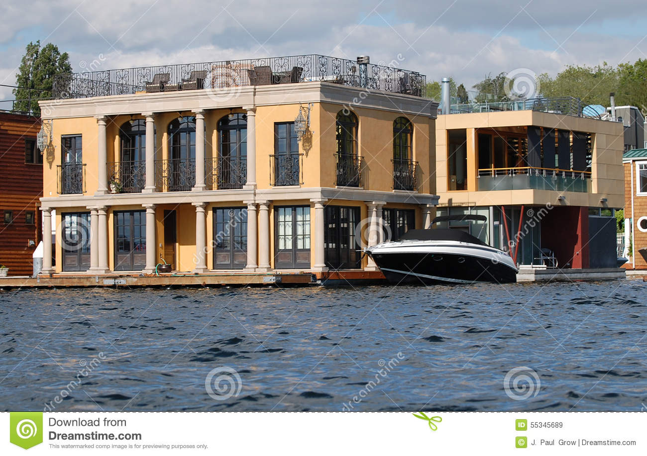 luxury two story houseboat with columns editorial stock image