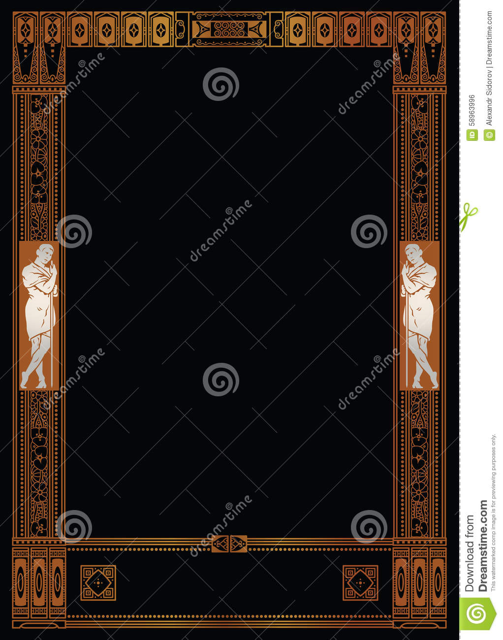 Luxury Vector Frame With Border In Greek Style Stock Vector