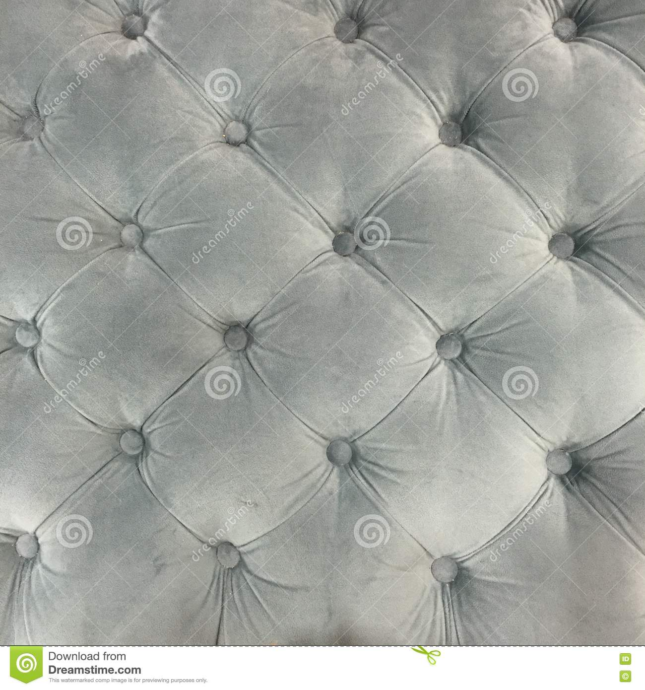 Luxury Velvet Upholstery Fabric Cushion With Buttons In Grey Stock