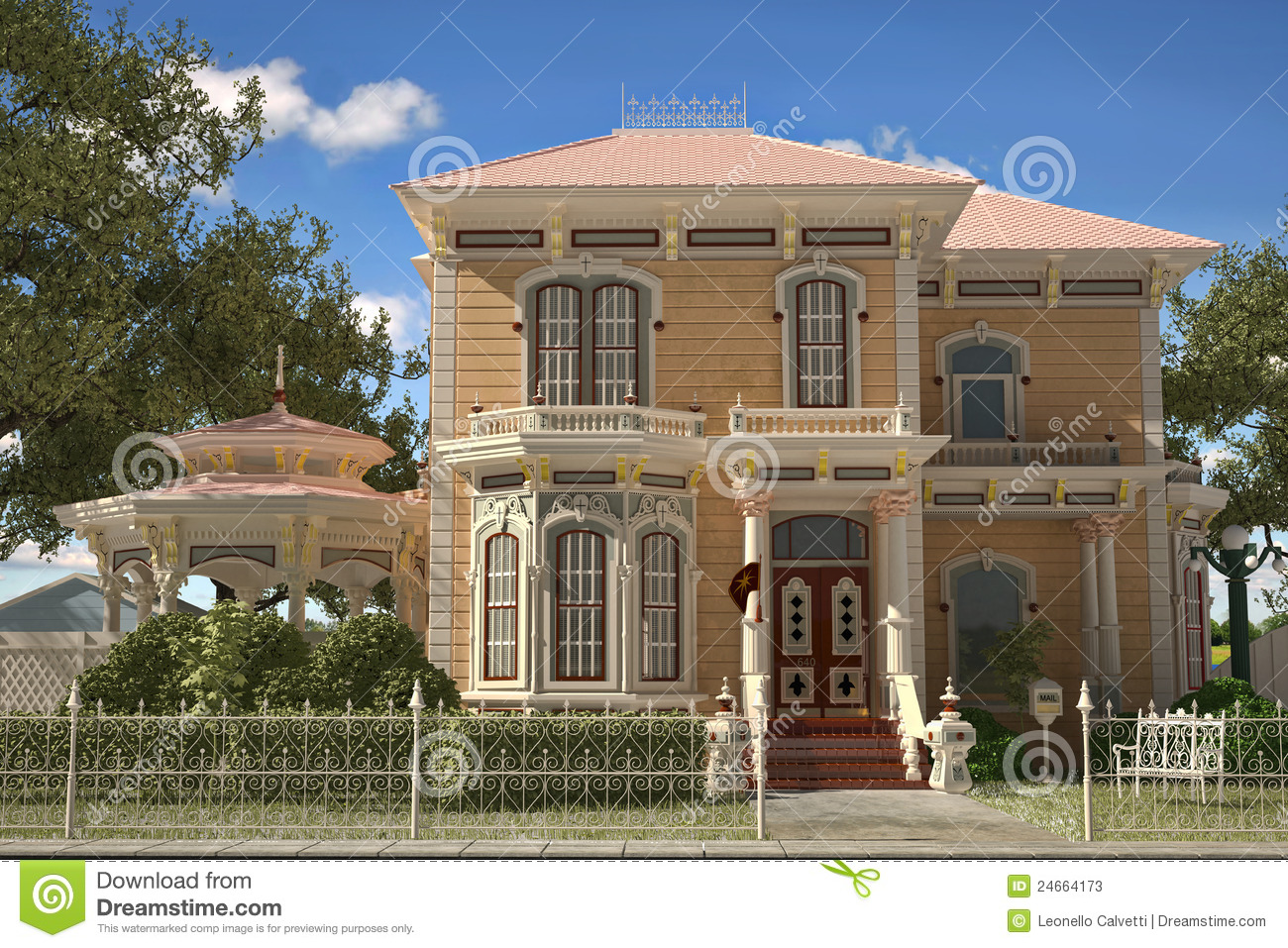 Luxury Victorian Style House Exterior Stock Illustration